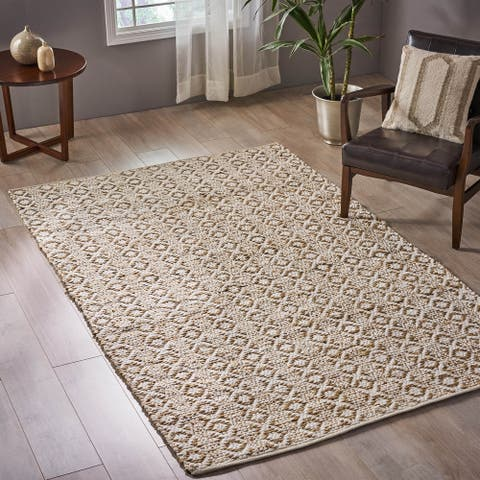 Hossler Transitional Hemp and Cotton Area Rug by Christopher Knight Home - 5' x 8'