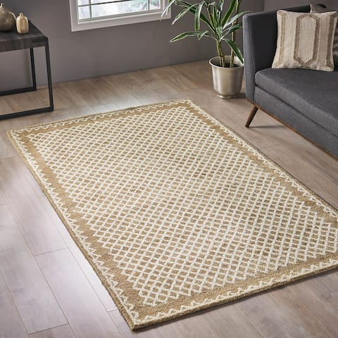 Forman Modern Wool Bordered Area Rug by Christopher Knight Home