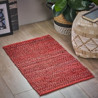 Gasper Boho Leather and Cotton Scatter Rug by Christopher Knight Home