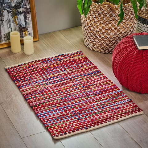 Eveland Boho Fleece and Fabric Scatter Rug by Christopher Knight Home
