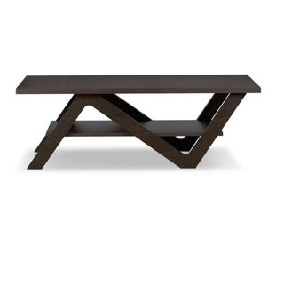 Contemporary Style Wooden Coffee Table with Open Bottom Shelf, Espresso Brown