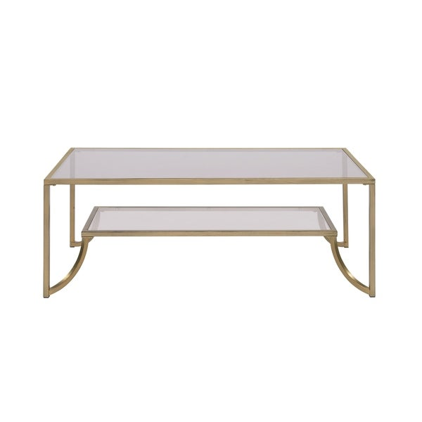Glass And Metal Coffee Table With Shelf: Shop Gold Metal-framed Coffee Table With Glass Top And