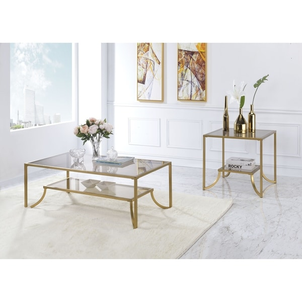 Glass And Metal Coffee Table With Shelf: Shop Modern Metal Framed Coffee Table With Glass Top And