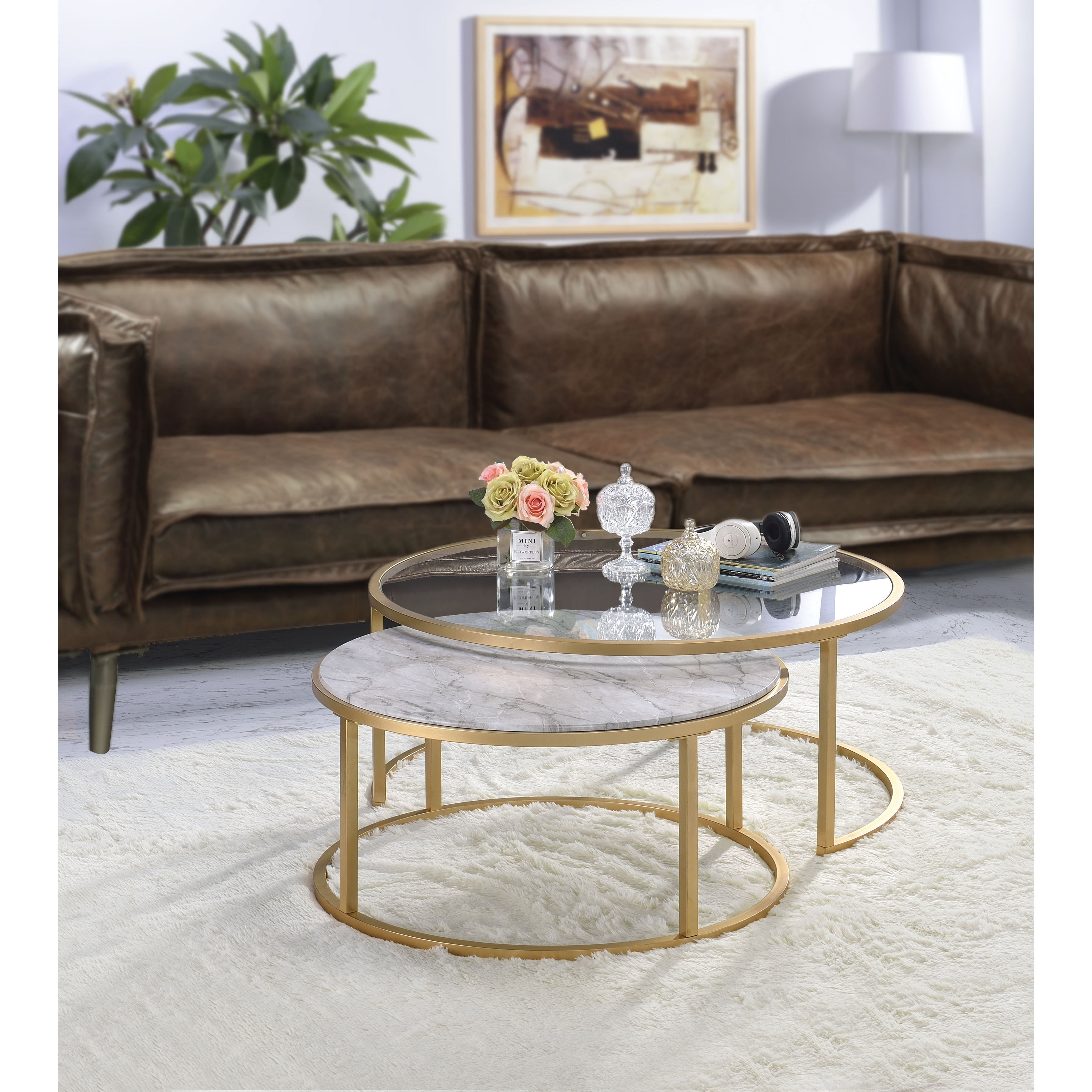 Metal Framed Nesting Coffee Tables With Glass And Marble Tops Set Of Two Gold Overstock 27887003