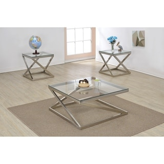 Square Shape Glass Top Coffee Table with Geometric Metal Base, Silver and Clear