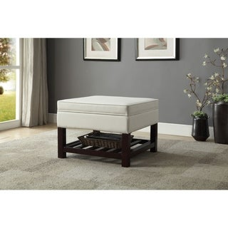 Leatherette Upholstered Wooden Cocktail Table with Lift Top Storage, White  and Brown