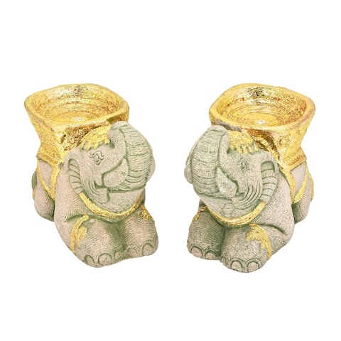 Handmade Majestic Kneeling Elephants with Gold Accents Pair of Cement Candle Holders (Thailand)