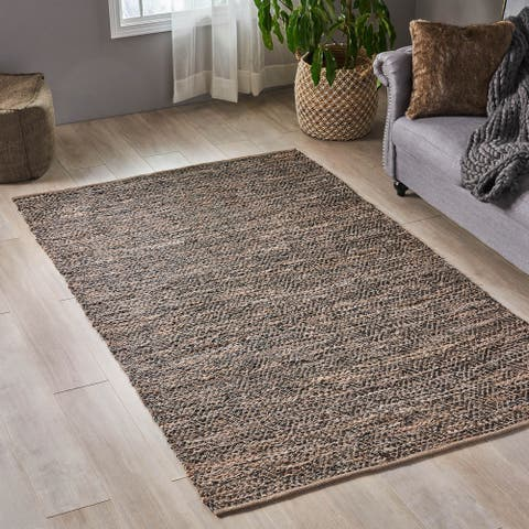 Catie Boho Leather and Cotton Area Rug by Christopher Knight Home - 5' x 8'