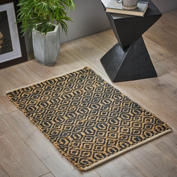Dymnos Boho Hemp and Chenille Cotton Patterned Scatter Rug by Christopher Knight Home