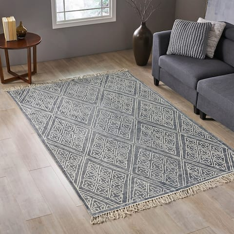 Doriselle Transitional Stone Washed Cotton Area Diamond Patterned Area Rug by Christopher Knight Home