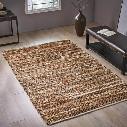 Demetria Transitional Leather and Hemp Area Rug by Christopher Knight Home - 5' x 8'