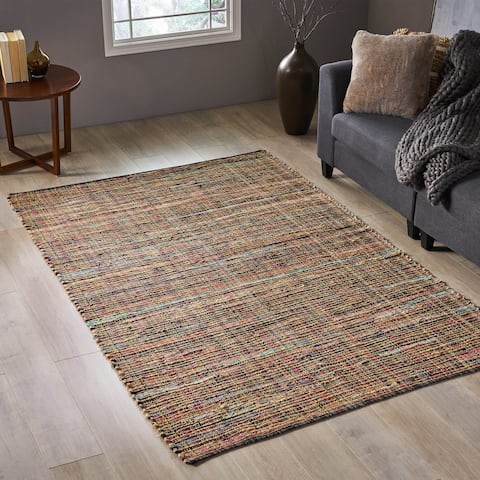 Cronin Transitional Leather and Hemp Area Rug by Christopher Knight Home