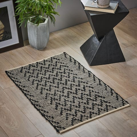 Emel Boho Leather and Cotton Zigzag Scatter Rug by Christopher Knight Home