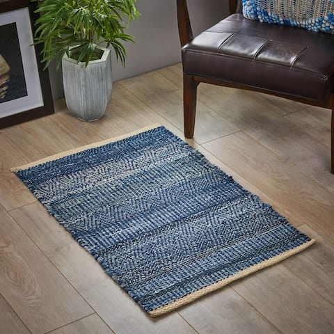 Anita Boho Denim and Wool Scatter Rug by Christopher Knight Home