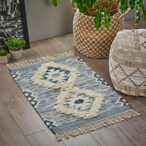 Catalpa Boho Wool Diamond Patterned Scatter Rug by Christopher Knight Home