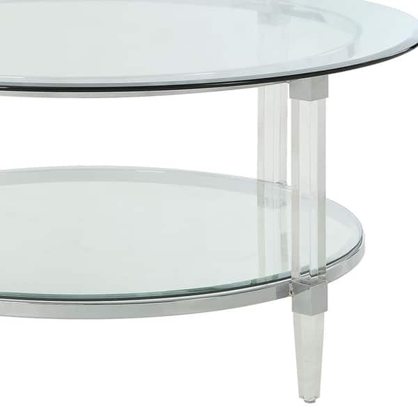 Shop Metal Accented Glass Top Oval Coffee Table With Open