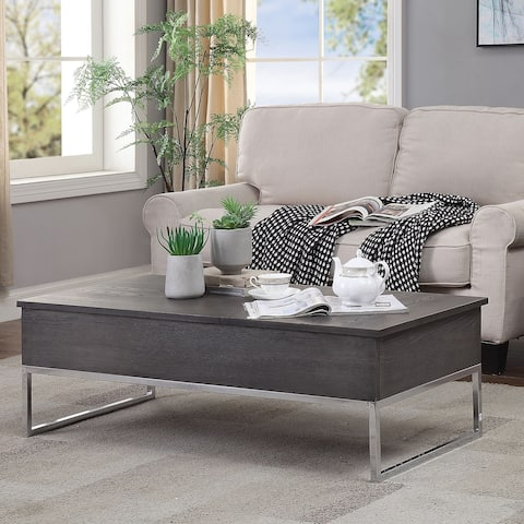 Wooden Coffee Table with Two Lift Tops and Metal Sled Leg Support, Gray and Silver