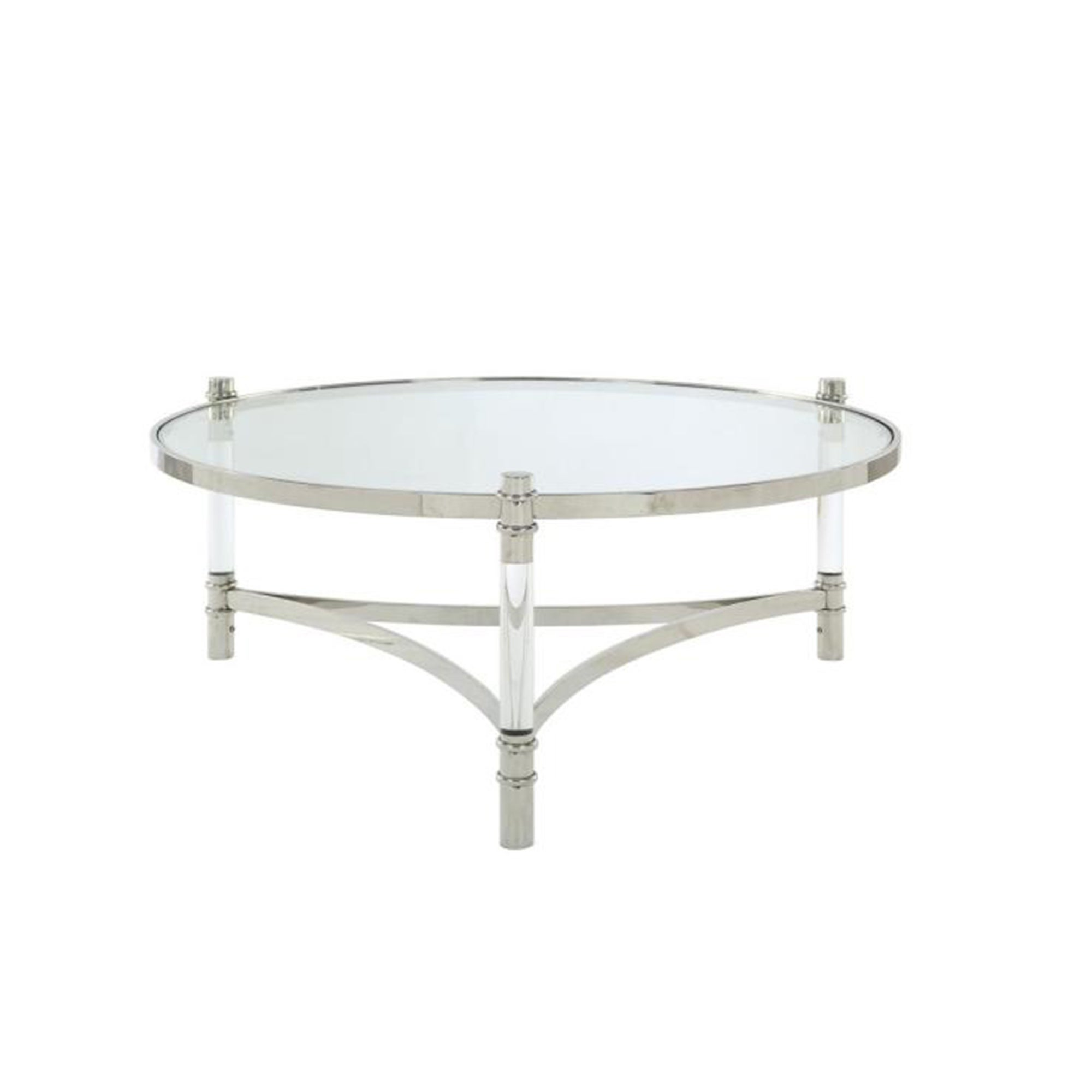 - Shop Acrylic And Stainless Steel Round Coffee Table With Glass Top