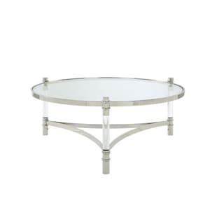 Acrylic and Stainless Steel Round Coffee Table with Glass Top, Silver and Clear