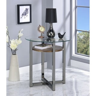 Metal Base Round End Table with Wooden Shelf and Glass Top, Black and Brown