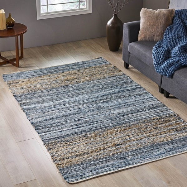 Columbia Transitional Denim and Cotton Area Rug by Christopher Knight Home