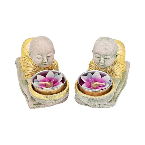 Handmade Meditating Pair of Kneeling Monks with Gold Accents Cement Candle Holders (Thailand)
