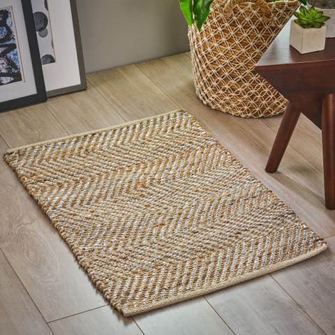 Camero Boho Hemp Area Rug with Metallic Accents by Christopher Knight Home