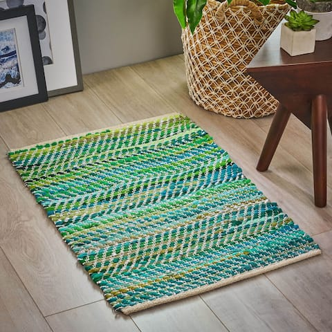 Bernette Boho Cotton Area Rug with Metallic Accents by Christopher Knight Home