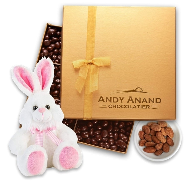 """Andy Anand Chocolate Bunny Pink 13"""" With Almonds covered Gourmet in Gift Basket, All-Natural(1 lbs) Handwritten Greeting Card. Opens flyout."""