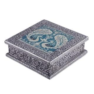 Handmade Nickel plated brass decorative box Majestic Peacock (India)