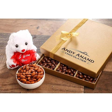 Andy Anand Chocolate covered Almonds & I love You Teddy Bear Handwritten Greeting Card in Gift Basket 1 lbs, Birthday
