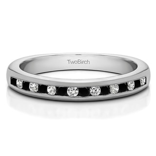 10k Gold Sixteen Stone Channel Set Wedding Ring With Black And White Diamonds G H I2 0 2 Cts Twt