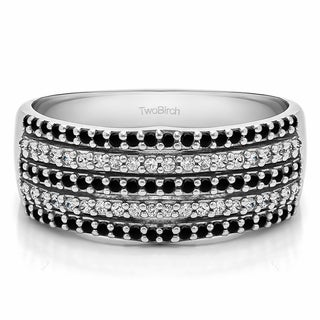 10k Gold Multi Row Shared Prong Wedding Ring With Black And White Diamonds G H I2 0 5 Cts Twt