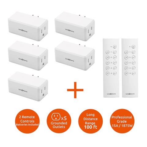 Link2Home Wireless Remote Control Outlet Light Switch, 100 ft range, Unlimited Connections. Compact Side Plug. - White - N/A