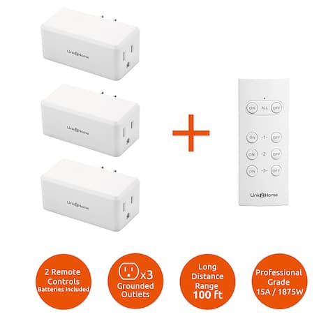 Link2Home Wireless Remote Control Outlet Light Switch, 100 ft range, Unlimited Connections. Compact Side Plug. - White - 1