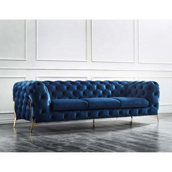 Shop Divani Casa Sheila Modern Dark Blue Fabric Sofa - On Sale ...