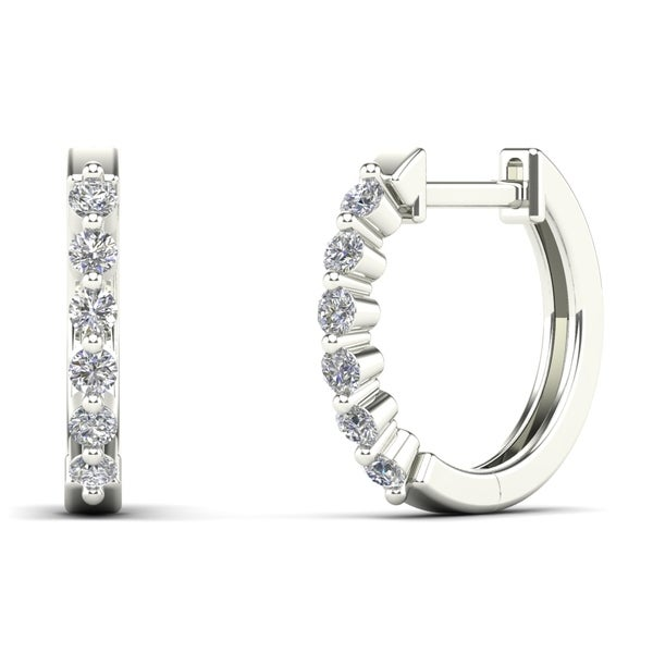AALILLY 14K White Gold 1/4ct TDW Diamond Huggie Hoop Earrings (H-I, I1-I2)