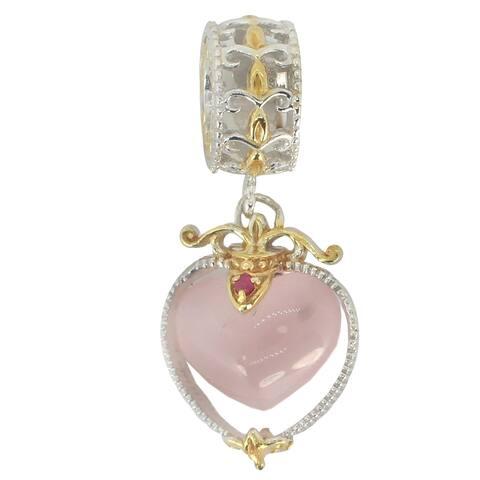 Michael Valitutti Palladium Silver Rose Quartz & Ruby Heart Charm - Pink