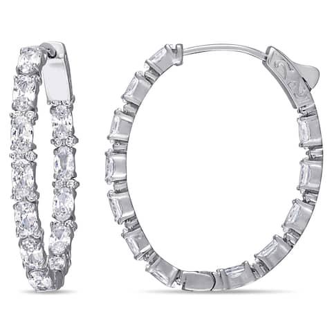 Miadora Sterling Silver Cubic Zirconia Inside-Outside Hoop Earrings