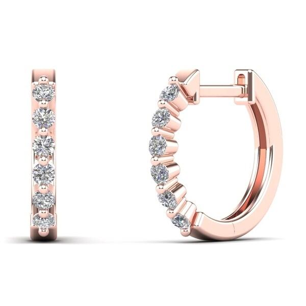 AALILLY 14K Rose Gold 1/4ct TDW Diamond Huggie Hoop Earrings (H-I, I1-I2)