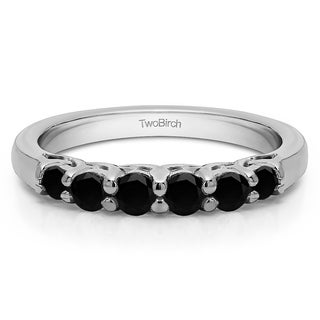 14k Gold Five Stone Common Prong Basket Set Wedding Ring With Black Diamonds 0 25 Cts Twt