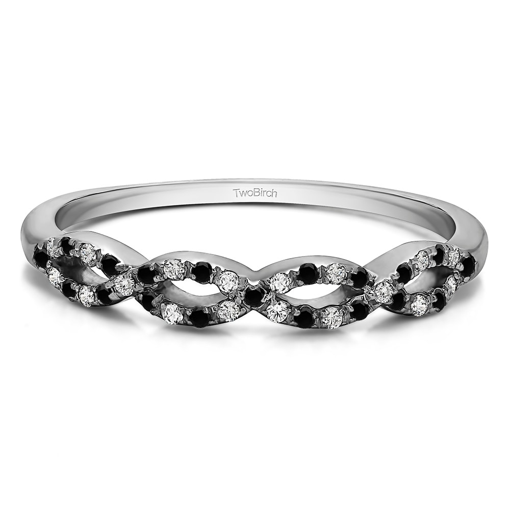 14k Gold  Pave Set Infinity Wedding Ring with Black and White Diamonds  (G/H, I2)(0.15 Cts. twt) (7.5 - White)