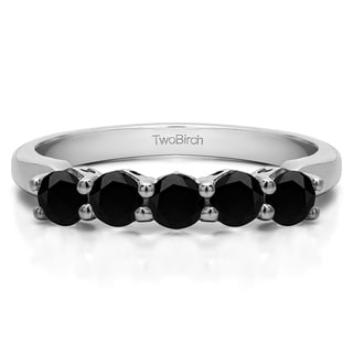 Sterling Silver Five Stone Shared Prong With Designed Profile Wedding Ring With Black Diamonds 1 Cts Twt