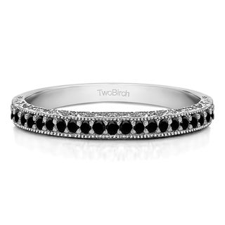 Sterling Silver Milgrained Pave Set Vintage Wedding Ring With Black Diamonds 0 34 Cts Twt