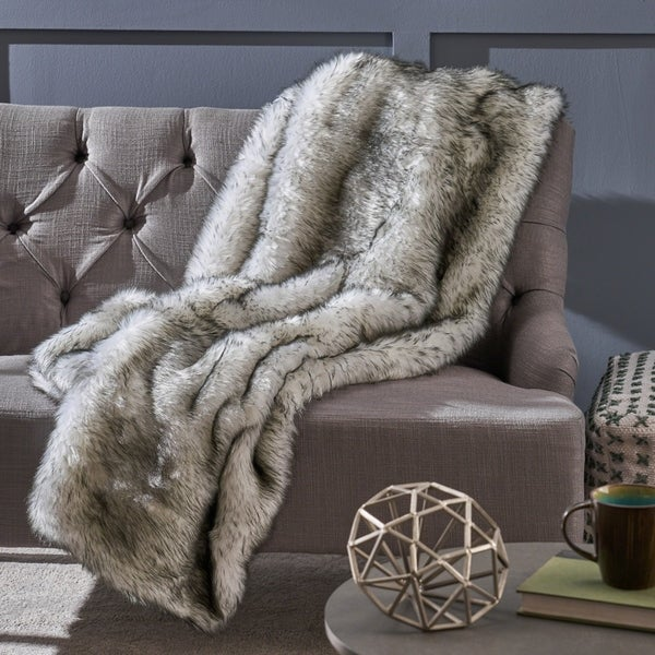 Warrin Faux Fur Throw Blanket by Christopher Knight Home