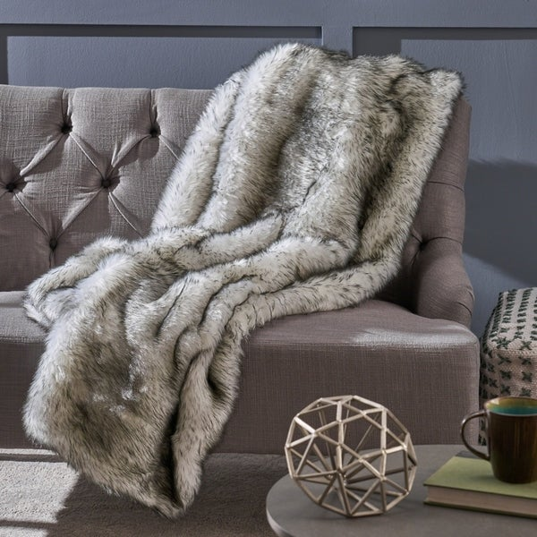 Warrin Streak Faux Fur Throw Blanket By Christopher Knight Home   Grey Streaks/White by Christopher Knight Home