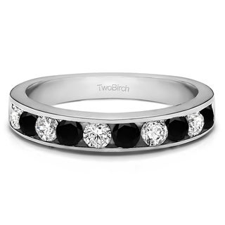 Sterling Silver 10 Stone Straight Channel Set Wedding Ring With Black And White Diamonds G H I2 0 25 Cts Twt