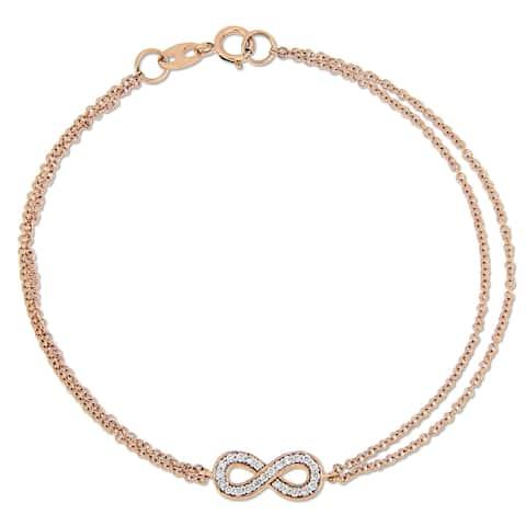 Miadora 14k Rose Gold 1/8ct TDW Diamond Infinity Double Chain Bracelet