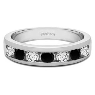 Sterling Silver Seven Stone Straight Channel Set Wedding Ring With Black And White Diamonds G H I2 0 49 Cts Twt