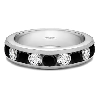Sterling Silver 10 Stone Channel Set Wedding Ring With Black And White Diamonds G H I2 1 5 Cts Twt